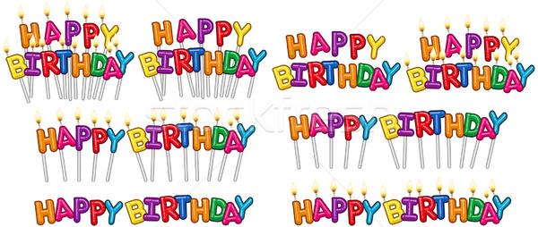 красочный С Днем Рождения текста свечей набор Stick Сток-фото © LironPeer
