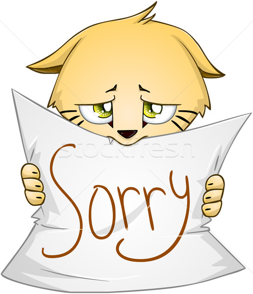 Cute Kitten Holds Sign Of Apology Stock photo © LironPeer