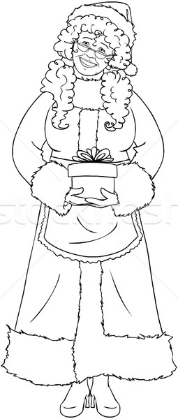 Mrs Santa Claus Holding A Present For Christmas Coloring Page Stock photo © LironPeer
