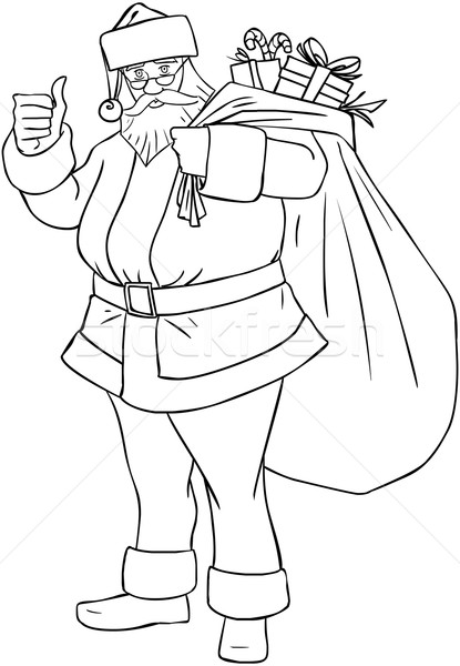 Santa Claus With Bag Of Presents For Christmas Coloring Page Stock photo © LironPeer