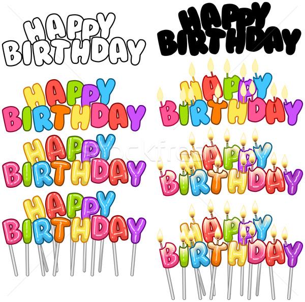 Colorful Happy Birthday Text Candles On Sticks Set 3 Stock photo © LironPeer