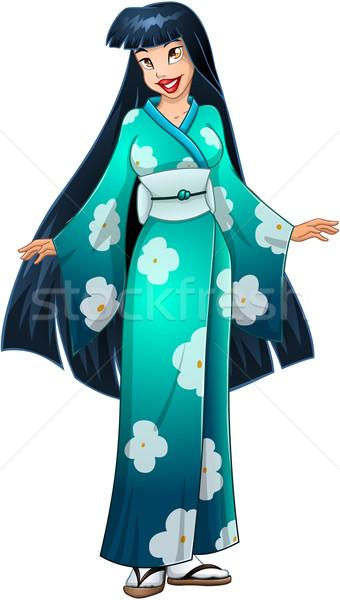 азиатских женщину синий кимоно традиционный зеленый Сток-фото © LironPeer