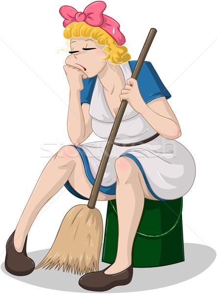 устал женщину метлой сидят ковша очистки Сток-фото © LironPeer