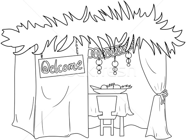 Sukkah For Sukkot Coloring Page Stock photo © LironPeer