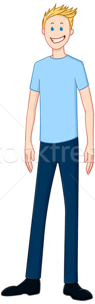Blond Happy Guy In Blue Shirt Standing Stock photo © LironPeer