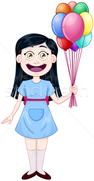 Girl Holding Colorful Balloons Stock photo © LironPeer