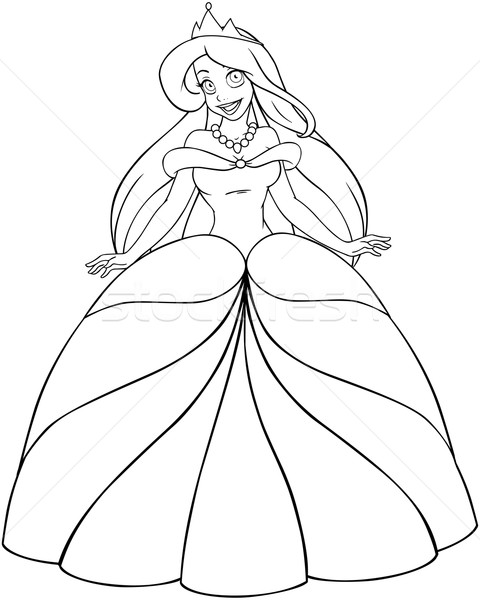 Caucasian Princess Coloring Page Stock photo © LironPeer