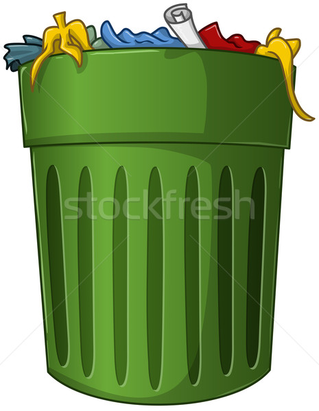 Trash Can with Trash Inside Stock photo © LironPeer