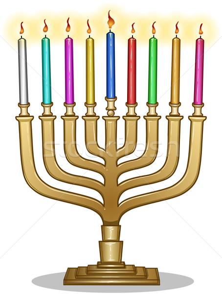 Hanukkah Lamp Hanukkiah Stock photo © LironPeer