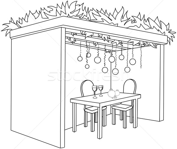 Sukkah For Sukkot With Table Coloring Page Stock photo © LironPeer