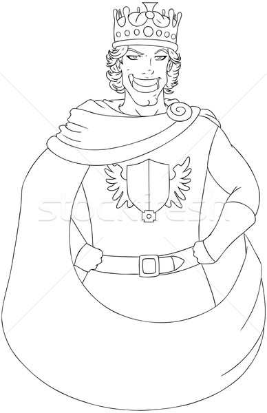 Young King With Crown Coloring Page Stock photo © LironPeer
