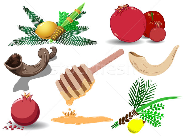 Jewish Holidays Symbols Pack Stock photo © LironPeer