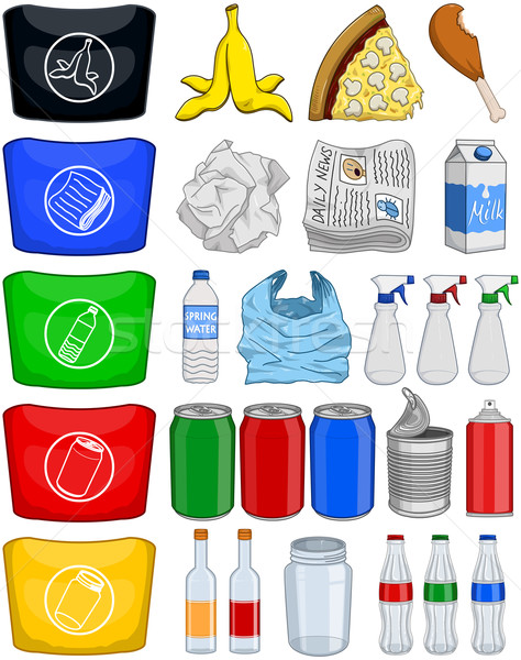 Food Bottles Cans Paper Trash Recycle Pack Stock photo © LironPeer