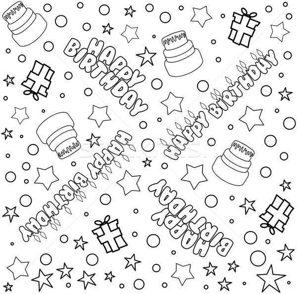 Happy Birthday Pattern Lineart Stock photo © LironPeer