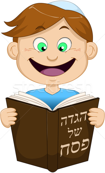 Boy Reading From Haggadah For Passover Stock photo © LironPeer