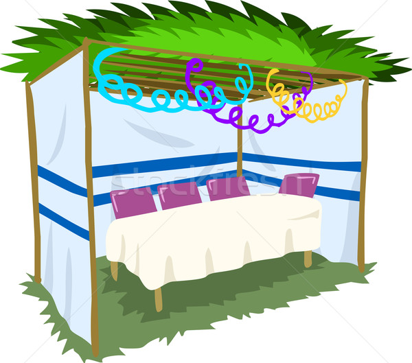 Sukkah For Sukkot With Table 2 Stock photo © LironPeer