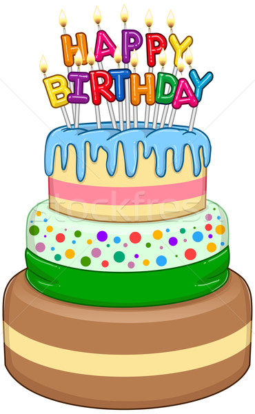 Three Floors Happy Birthday Cake With Candles Stock photo © LironPeer
