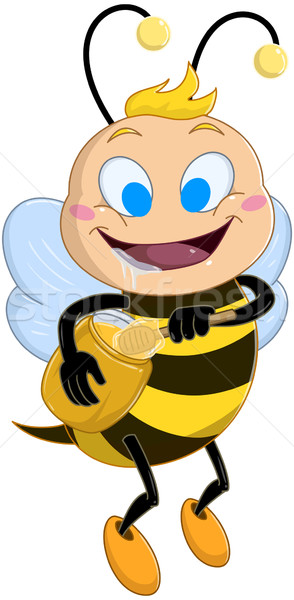 Drooling Bee Holds Honey Jar Stock photo © LironPeer