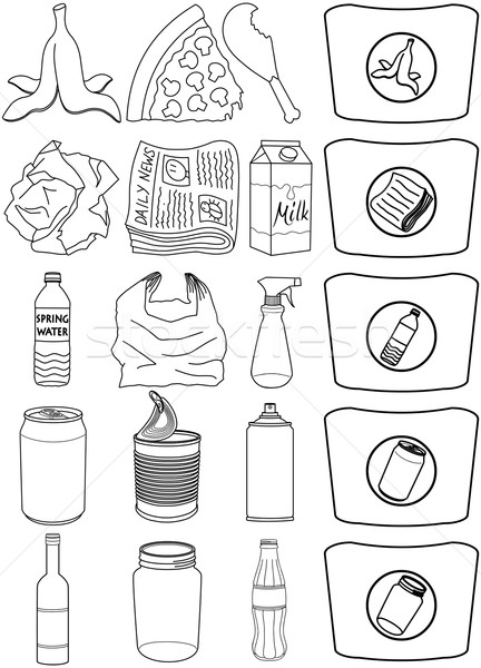 Food Bottles Cans Paper Trash Recycle Pack Lineart Stock photo © LironPeer