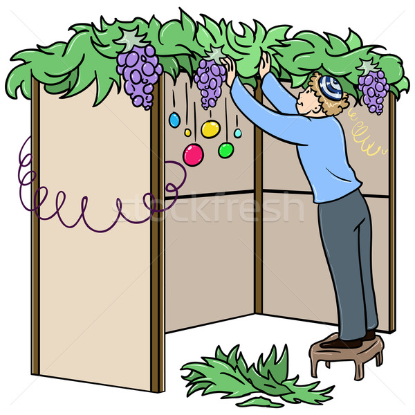 Jewish Guy Builds Sukkah For Sukkot Stock photo © LironPeer