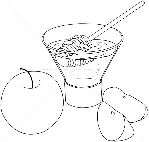 Rosh Hashanah Honey With Apples Coloring Page Stock photo © LironPeer