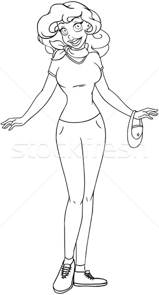 African Teenage Girl In TShirt And Pants Coloring Page Stock photo © LironPeer