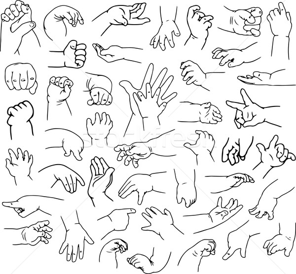 Baby Hands Pack Lineart Stock photo © LironPeer