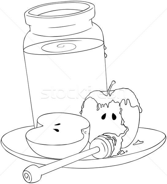 Stock photo: Rosh Hashanah Honey Jar and Apples Coloring Page