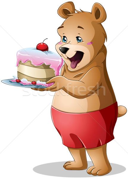 молодые несут торт Cute Сток-фото © LironPeer