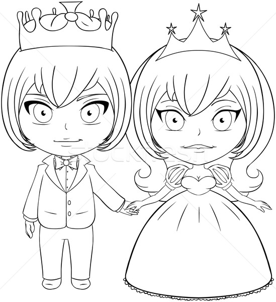 Prince and Princess Coloring Page 2 Stock photo © LironPeer