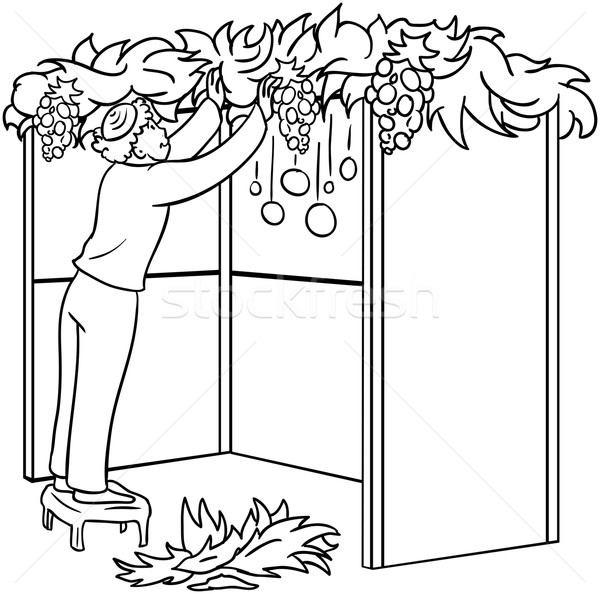Jewish Guy Builds Sukkah For Sukkot Coloring Page Stock photo © LironPeer