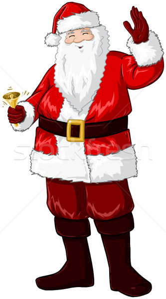 Santa Claus Holding Bell And Waving For Christmas Stock photo © LironPeer