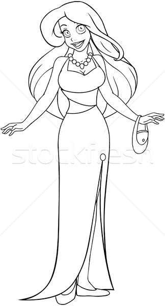 женщину вечернее платье страница девушки ночь черного и белого Сток-фото © LironPeer