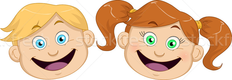 Cute Boy And Girl Heads Smiling Stock photo © LironPeer