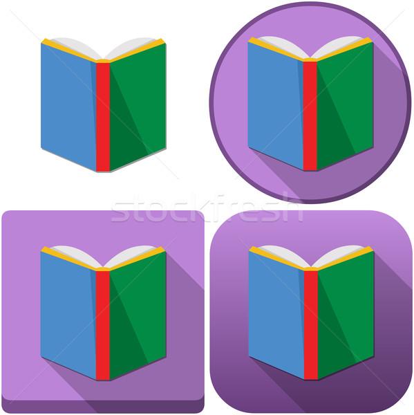 красочный книга икона Pack иконки android Сток-фото © LironPeer