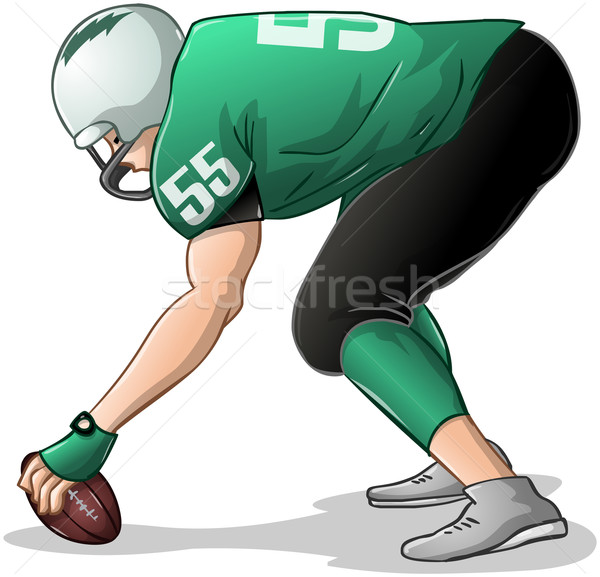 Football Player Kneels and Holds Ball Side View Stock photo © LironPeer