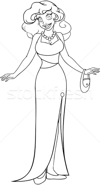 African Woman In Evening Dress Coloring Page Stock photo © LironPeer