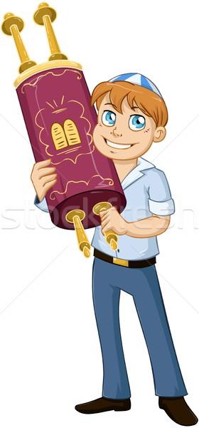 Jewish Boy Hold Torah For Bar Mitzvah Stock photo © LironPeer