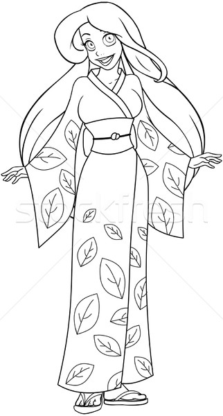 Caucasian Woman In Kimono Coloring Page Stock photo © LironPeer