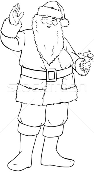 Santa Claus Holding Bell And Waving For Christmas Coloring Page Stock photo © LironPeer