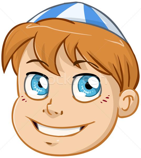 Jewish Boy Head With Blue And White Kippah Stock photo © LironPeer