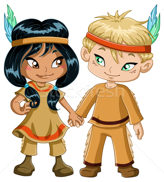 Indian Boy And Girl Holding Hands For Thanksgiving Stock photo © LironPeer