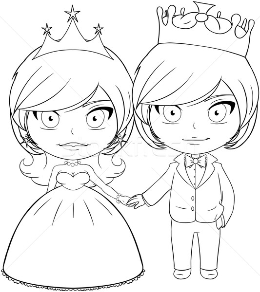 Prince and Princess Coloring Page 3 Stock photo © LironPeer