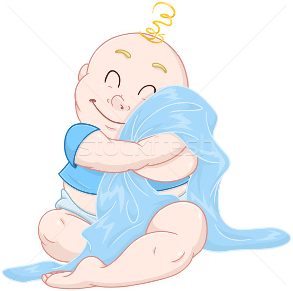 Cute Baby Boy Hugs Blue Blanket Stock photo © LironPeer