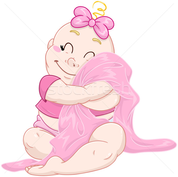 Cute Baby Girl Hugs Pink Blanket Stock photo © LironPeer