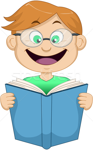Boy With Glasses Reading From Book Stock photo © LironPeer