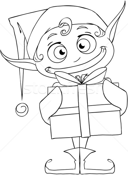 Christmas Elf Holding A Present Coloring Page Stock photo © LironPeer