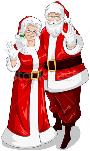 Santa And Mrs Claus Waving Hands For Christmas Stock photo © LironPeer