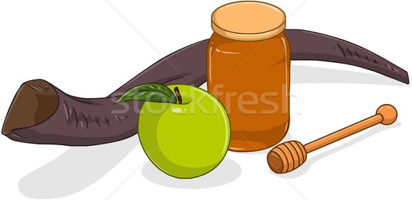 Bal kavanoz elma yeşil karikatür din Stok fotoğraf © LironPeer