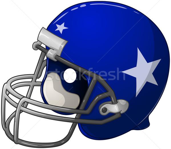 синий футбола шлема голову Gear играть Сток-фото © LironPeer
